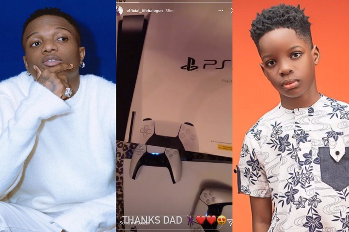 Wizkid Surprises His First Son With Brand New ₦500k Worth PS5 For Christmas (Photo)